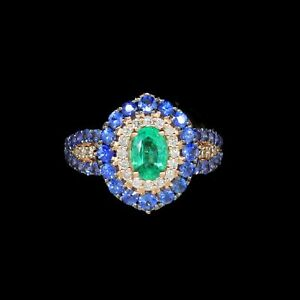 LeVian 14K Rose Gold, Emerald, Blue Sapphire, and Diamond Spectacular ring