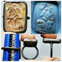 Beautiful Ring with Roman Ancient emperor Intaglio seal stone   # 76