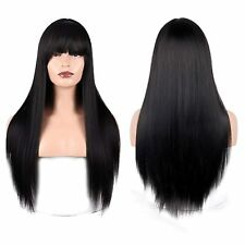 MISSQUEEN LONG SILKY STRAIGHT BLACK WIG HEAT RESISTANT SYNTHETIC HAIR COSPLAY