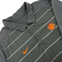 Mens Nike Dri Fit Gray Athletic Golf Polo Shirt Size XL Clemson Tigers Football
