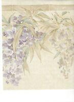 Lavender Satin Wisteria Floral on Cream Wallpaper Border ONB55931
