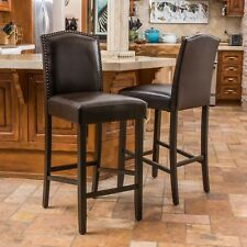 Set of 2 Brwn Leather Bar Height Stools Nailhead Trim Solid Back Chairs 31in NEW