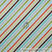 BonEful Fabric FQ Cotton Quilt White Orange Blue Yellow Green Gray Brown STRIPE