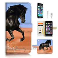 ( For iPhone 7 Plus ) Wallet Case Cover P3306 Black Horse