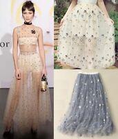 Runway Celebrity Designer Floral Star Sequined Tulle Tutu Sheer Maxi Long Skirt