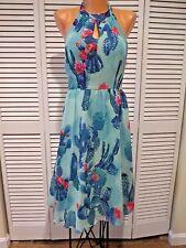 NWOT Halter Style Cactus Print Women's Summer Dress Rockabilly Vtg Style Sz Sm