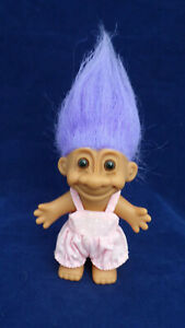 "Vintage Russ 4.5"" Purple Hair Pink Jumper w/ Cotton Bunny Tail Troll Doll #18566"
