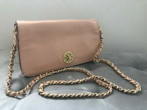 Authentic TORY BURCH Beige Patent Leather Crossbody Bag