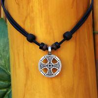 Halskette Lederhalskette Lederkette Kelten Wikinger Kreuz Herren Damen Thor Odin