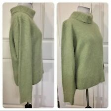 Venesha ANGORA Pullover FLUFFY Soft Green TURTLENECK SWEATER S