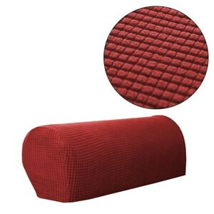 Set of 2 Stretch Armrest Covers Chair Couch Sofa Arm Anti-Slip Protectors Cover
