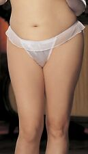 White Charmeuse and Mesh Big Bow Thong Ruffle Trim Shirley X20 Size 1X