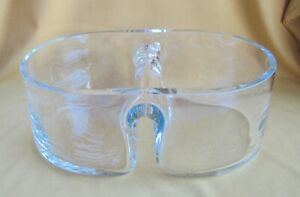 Fabulous Folded Glass Divided Serving Bowl, Thick Glass, Excellent Quality, GUC