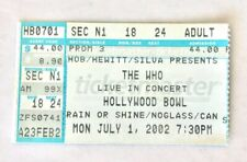 The Who Concert Ticket Stub 2002 Hollywood Bowl Pete Townshend Roger Daltrey