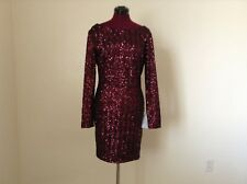 NEW Dress The Population $218 'Lola' Open Low Back LS Bodycon Dress*Wine*Large