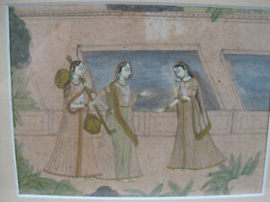 Deccan Rajput Rajasthan Indian Miniature Painting Beauties Rani Sitar Veena yqz