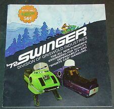 VINTAGE 1972 SWINGER SNOWMOBILE SALES BROCHURE (READ)  (745)