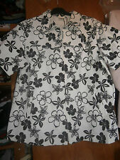 Veste MS MODE- Blanche avec motifs fleurs noirs - Taille XL (48/50) - TBE