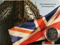BIG BEN BREXIT 50P COIN mounted on  Brexit background