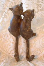 New Decorative Country Two Cats Cat Clothes Coat Hat Key Double Hook Hanger