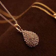Womens Gold Silver Plated Crystal Pendant Teardrop Long Chain Necklace Jewelry