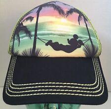 Disney Parks Mickey Mouse Beach Hammock Mesh Snapback Hat Trucker Hard To Find