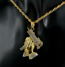 Men's Hip Hop Gold Plated Ice Out Praying Hand Pendant  Chain Necklace Gifts