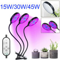 1/2/3 Head Plant Grow Light Lamp LED Indoor Greenhouse Hydroponics Dimmable