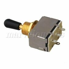 Miniature Toggle Switch 3 Way ON/OFF  Gold Plate / Black Cap for Electric Guitar
