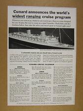 1963 Cunard Queen Elizabeth QE cruise calendar fares prices vintage print Ad