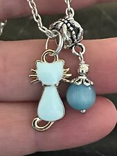 "Cat Opal W/Blue Quartz Charm Tibetan Silver 18"" Necklace AF20"