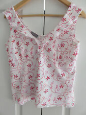 PER UNA MARKS & SPENCER WHITE RED PINK EMBROIDERED COTTON MIX CAMI TOP UK  12 14