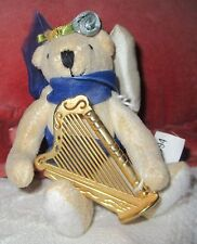 "Ganz 4 1/2"" Stuffed Teddy Bear Angel in Blue with a Harp"