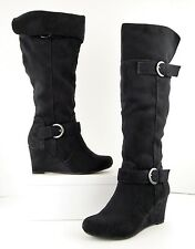NIB R2 Report Black Faux Suede Knee-High Over-Knee Wedge Heel Boots 6 M (S543)