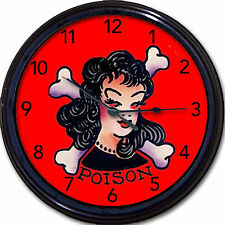 Tattoo Old School Poison Tat Parlor Palour Wall ClockMan Cave New 10""