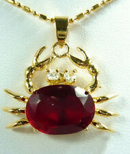 Charming Red Cubic Zirconia Ruby 18KGP Crystal Crab Pendant and Necklace