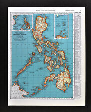 1938 Rand McNally Map Philippine Islands China Sea Manila Luzon Batan Babuyan