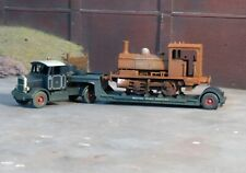 OO gauge Pug loco on a low loader, heavily rusted and weathered