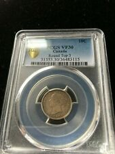 1893 Round Top 3 Obv #6, PCGS Graded Canadian,  10 Cent, **VF-30**