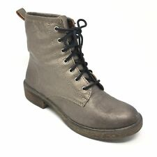 Women's Lucky Brand Ankle Boots Shoes Size 6M Bronze Pewter Leather Casual AB10