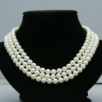 """Triple strands AAA natural south sea 8-9MM white pearl necklace 18"""" 14K Clasp"""
