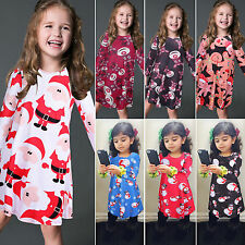 Kids Baby Girls Toddler Long Sleeve Party Christmas Xmas Skater Dress Tops 2-8Y
