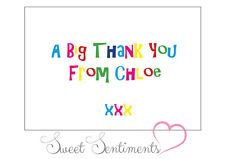 Personalised Kids Glossy  Birthday Party Thank You Card / Notes  - 12