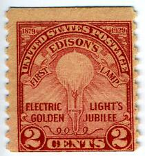 1929 2c Edisons First Lamp, coil (SC# 656) UNUSED OG NH