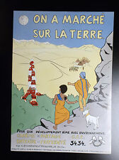 RARISSIME Grand poster On a marché sur la Terre Parodie Tintin 1980