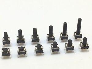 5x Mikrotaster 6x6x 4,3 - 18 mm   Taktile Kurzhubschalter Taster   5 Stück