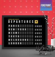 Personalised Travel departure board art print, Perfect anniversary/birthday gift