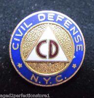 CD CIVIL DEFENCE NYC NEW YORK CITY Old Enamel Pin Ornate Screwback Cold War Era