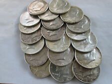 1964 KENNEDY 90% SILVER HALF DOLLARS, FULL ROLL, 20 COINS, HIGH GRADES NO JUNK