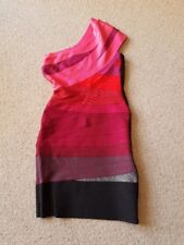 Celeb Boutique Pinks Red  & Black Bandage style Dress. Size Small approx  8 /10